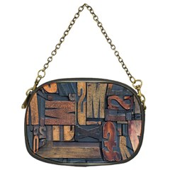 Letters Wooden Old Artwork Vintage Chain Purses (One Side)