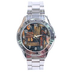 Letters Wooden Old Artwork Vintage Stainless Steel Analogue Watch