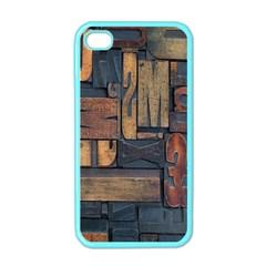 Letters Wooden Old Artwork Vintage Apple iPhone 4 Case (Color)