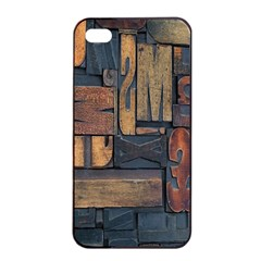 Letters Wooden Old Artwork Vintage Apple iPhone 4/4s Seamless Case (Black)