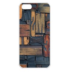 Letters Wooden Old Artwork Vintage Apple Iphone 5 Seamless Case (white)