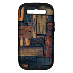 Letters Wooden Old Artwork Vintage Samsung Galaxy S Iii Hardshell Case (pc+silicone)