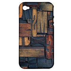 Letters Wooden Old Artwork Vintage Apple Iphone 4/4s Hardshell Case (pc+silicone)