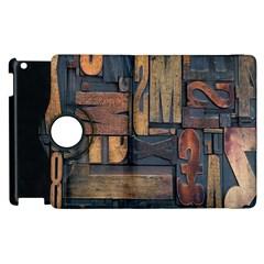 Letters Wooden Old Artwork Vintage Apple iPad 2 Flip 360 Case