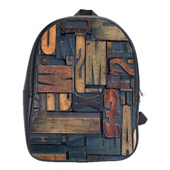 Letters Wooden Old Artwork Vintage School Bags (XL)