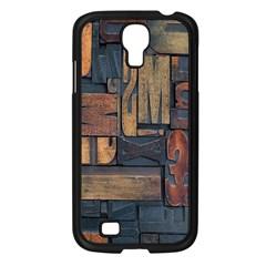 Letters Wooden Old Artwork Vintage Samsung Galaxy S4 I9500/ I9505 Case (Black)