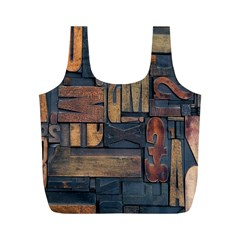 Letters Wooden Old Artwork Vintage Full Print Recycle Bags (M)