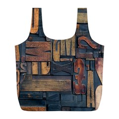 Letters Wooden Old Artwork Vintage Full Print Recycle Bags (L)