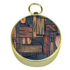 Letters Wooden Old Artwork Vintage Gold Compasses