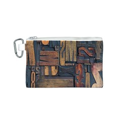 Letters Wooden Old Artwork Vintage Canvas Cosmetic Bag (S)