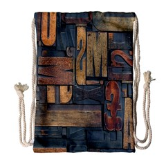 Letters Wooden Old Artwork Vintage Drawstring Bag (Large)