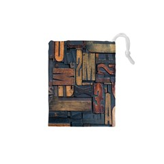 Letters Wooden Old Artwork Vintage Drawstring Pouches (XS)