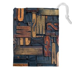 Letters Wooden Old Artwork Vintage Drawstring Pouches (XXL)