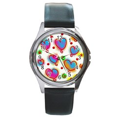 Love Hearts Shapes Doodle Art Round Metal Watch