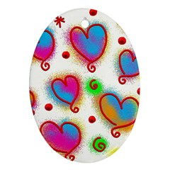 Love Hearts Shapes Doodle Art Ornament (Oval)