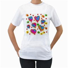Love Hearts Shapes Doodle Art Women s T Shirt (white) (two Sided)