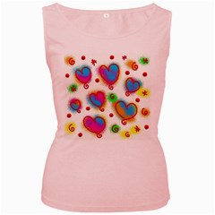 Love Hearts Shapes Doodle Art Women s Pink Tank Top