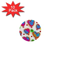 Love Hearts Shapes Doodle Art 1  Mini Buttons (10 pack)