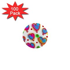Love Hearts Shapes Doodle Art 1  Mini Magnets (100 pack)