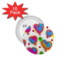 Love Hearts Shapes Doodle Art 1 75  Buttons (10 Pack)