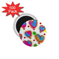 Love Hearts Shapes Doodle Art 1.75  Magnets (100 pack)