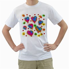 Love Hearts Shapes Doodle Art Men s T-Shirt (White) (Two Sided)