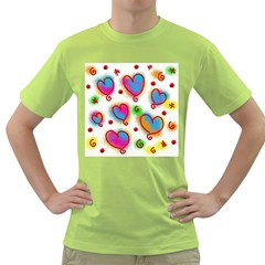 Love Hearts Shapes Doodle Art Green T-Shirt