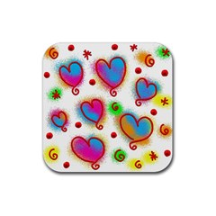 Love Hearts Shapes Doodle Art Rubber Square Coaster (4 pack)