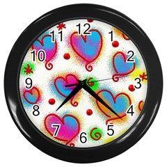 Love Hearts Shapes Doodle Art Wall Clocks (Black)