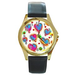 Love Hearts Shapes Doodle Art Round Gold Metal Watch