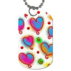 Love Hearts Shapes Doodle Art Dog Tag (Two Sides)