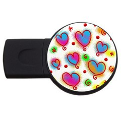 Love Hearts Shapes Doodle Art USB Flash Drive Round (2 GB)