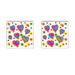 Love Hearts Shapes Doodle Art Cufflinks (Square)