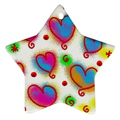 Love Hearts Shapes Doodle Art Star Ornament (Two Sides)