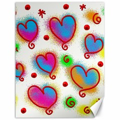 Love Hearts Shapes Doodle Art Canvas 18  x 24