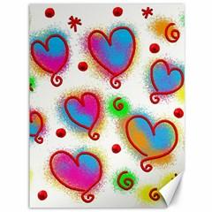 Love Hearts Shapes Doodle Art Canvas 36  x 48