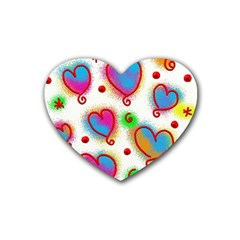 Love Hearts Shapes Doodle Art Rubber Coaster (Heart)