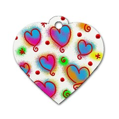 Love Hearts Shapes Doodle Art Dog Tag Heart (One Side)