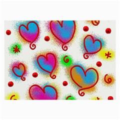 Love Hearts Shapes Doodle Art Large Glasses Cloth (2-Side)