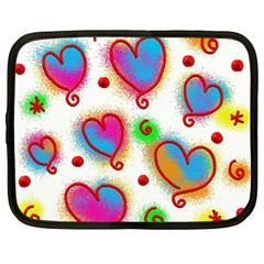 Love Hearts Shapes Doodle Art Netbook Case (Large)