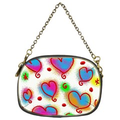 Love Hearts Shapes Doodle Art Chain Purses (Two Sides)