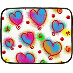 Love Hearts Shapes Doodle Art Fleece Blanket (mini)