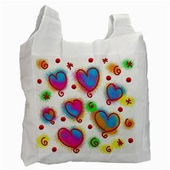 Love Hearts Shapes Doodle Art Recycle Bag (Two Side)