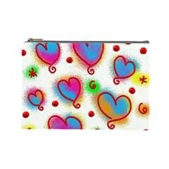 Love Hearts Shapes Doodle Art Cosmetic Bag (Large)
