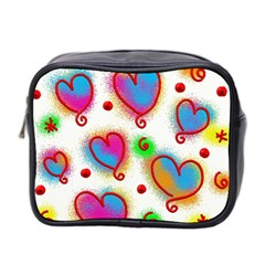 Love Hearts Shapes Doodle Art Mini Toiletries Bag 2-Side
