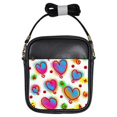 Love Hearts Shapes Doodle Art Girls Sling Bags