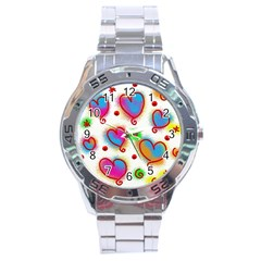 Love Hearts Shapes Doodle Art Stainless Steel Analogue Watch