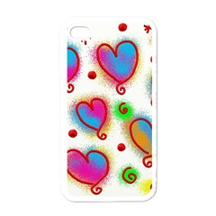 Love Hearts Shapes Doodle Art Apple Iphone 4 Case (white)