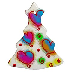 Love Hearts Shapes Doodle Art Ornament (Christmas Tree)