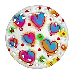 Love Hearts Shapes Doodle Art Round Filigree Ornament (Two Sides)